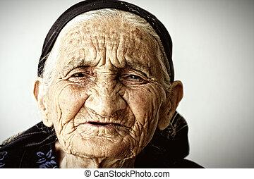 muy, viejo, mujer, cara