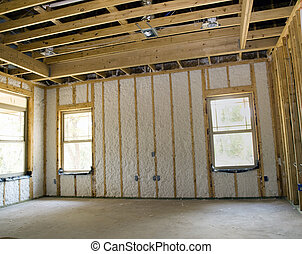 Insulated Wall - Insulated wall of a new house under...