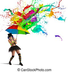 Colorful rain - Clown is repaired by a colorful rain
