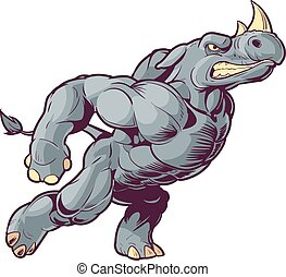Charging Vector Cartoon Rhino right