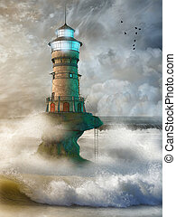 Fantasy landscape with lighthouse in the ocean