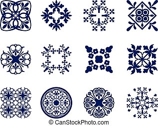 Floral Icons - A set of symmetrical geometric floral design...
