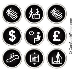 Office and finance Icons - Black office and finance related...