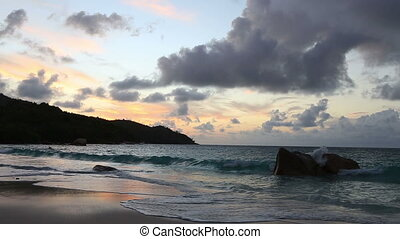 Sunset on the beach of Anse Lazio.