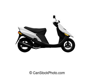 Scooter isolated moto side view