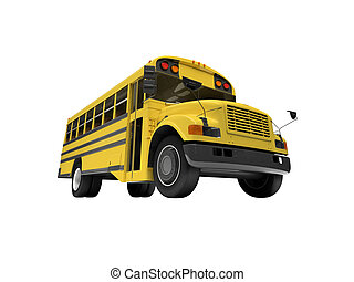 School yellow bus isolated over white - isolated school bus...