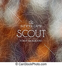 Summer scout camp background. Warm colors - Summer scout...