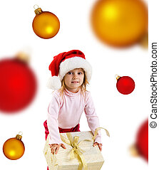 Cute girl with a xmas gift and spheres - Cute girl with a...