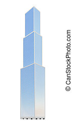 skyscraper over white - isolated high building on a white...