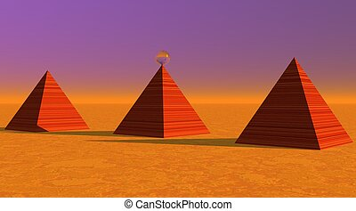 Three red striated pyramids in desert