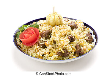Pilau with garlic and tomato on white gound