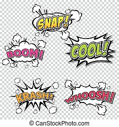 Collection multicolored comic sound Effects Eps 10.