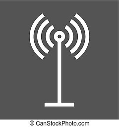 Antenna, signals, waves, beeper icon vector image. Can also...