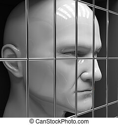 Man in jail - Man behind bars in jail. Restriction of...