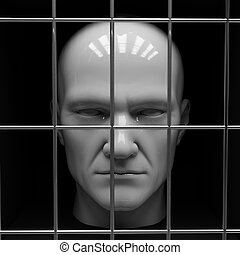 Man in jail - Man behind bars in jail Restriction of freedom...