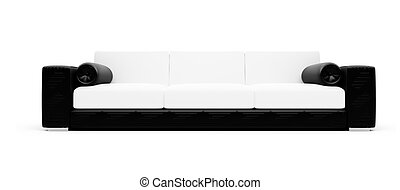 Black and white color sofa isolated view - isolated black...