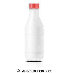 White milk plastic bottle template.