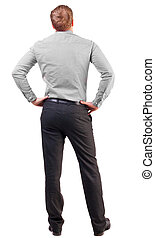 back view of Business man  looks ahead
