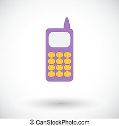 Phone single icon - Phone Single flat icon on white...