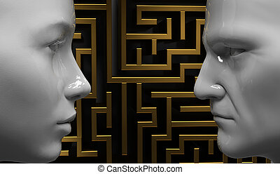 Man and woman face to face on the background of the...