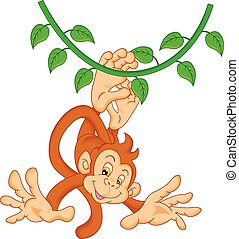 cute monkey cartoon - vector illustration of cute monkey...
