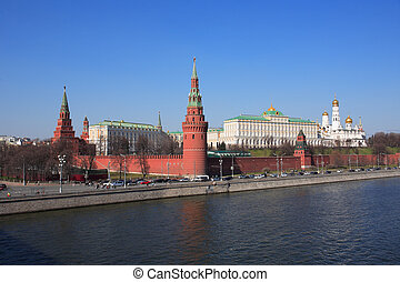 Moscow Kremlin - Moscow, Russia, April 12, 2015 View of the...