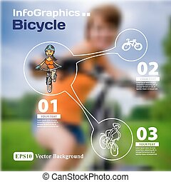 Set of infographics with blurry photographic background on...