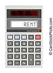 Old calculator - rent - Old calculator showing a text on...