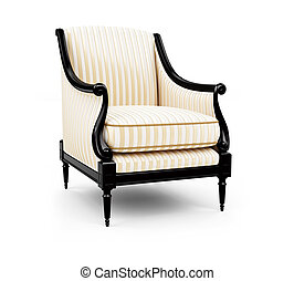 Striped armchair against white - isolated Striped armchair...