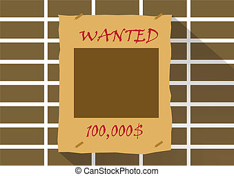 Wanted poster with blank face mask on brick wall.Vector illustra