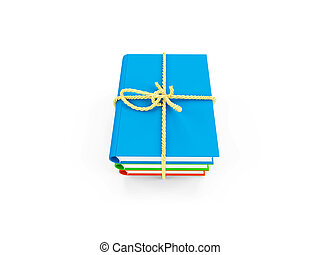 tied up books isolated view - tied up books on white...