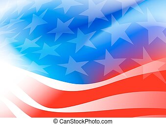 Abstract American flag on a white background