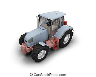 Tractor isolated heavy machine front view 04