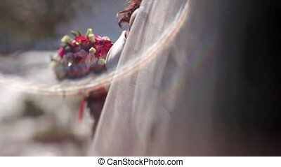 Bride with flowers, pinhold effect
