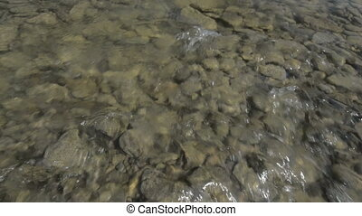 Shallow mountain San river flow sun - Shallow mountain San...