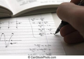 Math homework  - Studen doing his math homework