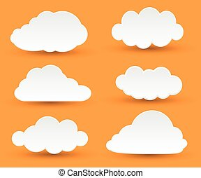 white clouds - Messages in the form of white clouds. Vector...