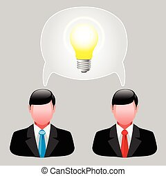 Business men - Icon ideas. Business men with thoughts....
