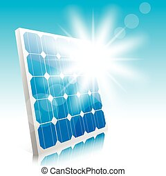 solar panel - Sun and solar panels. Illustration. Vector.