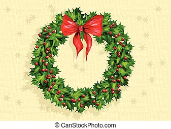 holly wreath with bow on abstract background