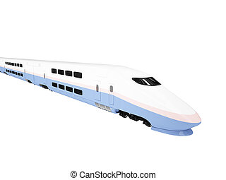 Train express isolated view - isolated train on a white...