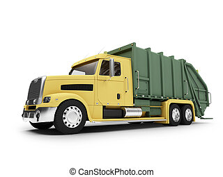 isolated trash dump car on white background