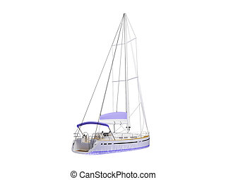 Vessel boat isolated back view - isolated vessel on white...