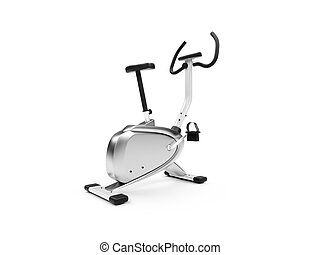 vertical exercise bicycle over white