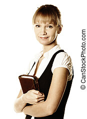 Busineswoman holding notepad - Blonde busineswoman holding...
