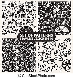 Set of seamless hand drawn patterns in the style of children