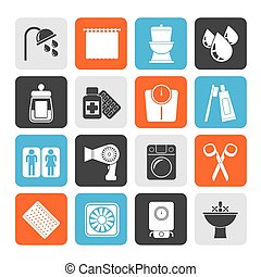 Bathroom and Personal Care icons - Silhouette Bathroom and...