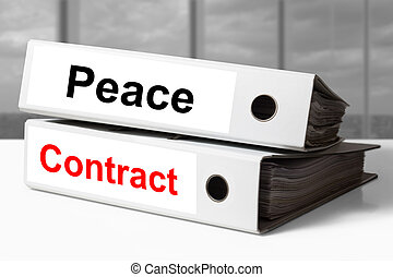 white office binders peace contract - stack of white office...