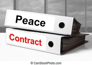 branca, escritório, pastas, paz, Contrato,