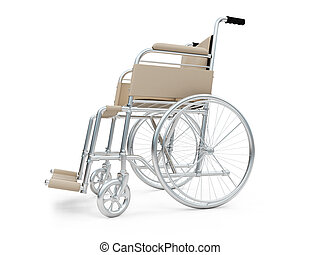 Wheelchair isolated view - Isolated wheelchair over white...